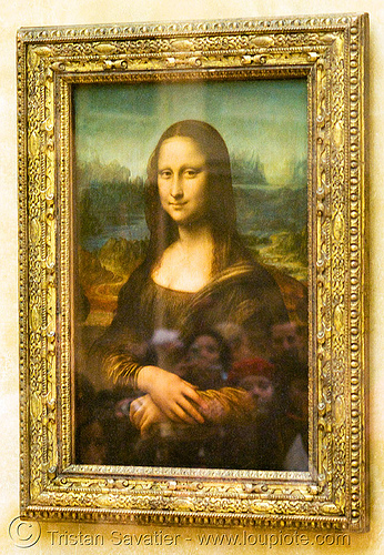 mona lisa (le louvre museum), frame, gioconda, joconde, painting, paris, reflections, tourists