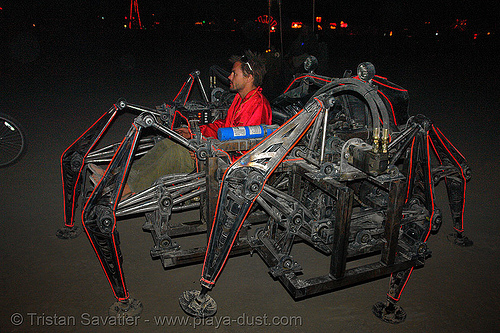 mondo spider - burning-man 2006, art car, biomimicry, burning man, el-wire, electroluminescent wire, mecanical, mechanical spider, motorized spider, mutant vehicles, night, walker, walking machine