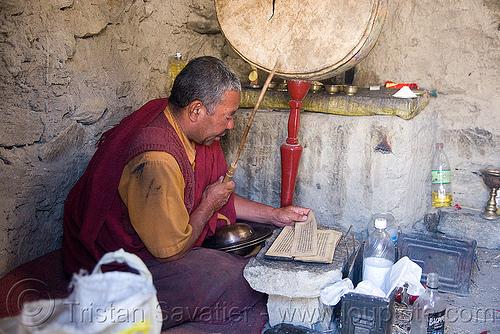 monk in tangtse gompa (monastery) - road to pangong lake - ladakh (india), buddhism, buddhist, drun, gompa, ladakh, monk, prayers, tangtse, tibetan monastery
