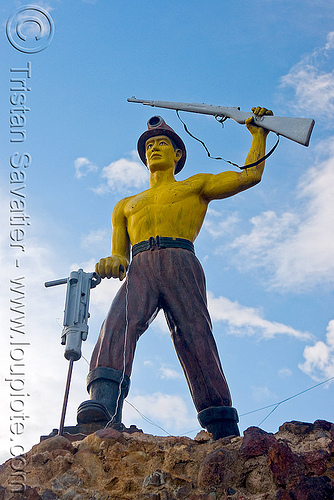 monument to the miners - potosi  (bolivia), gun, jack hammer, mine worker, miner, monument, potosí, safety helmet, sculpture, statue, yellow