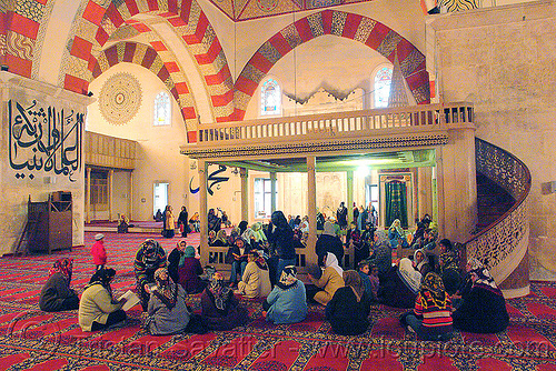 mosque women corner, arabic, calligraphy, carpet, edirne, eski camii, eski mosque, faith, hijab, holy book, inside, interior, islam, koran, muslim, praying, quraan, quran, reading, religion, scriptures, sitting, stairs, studying, vaults, verses, women
