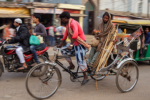 mother and baby on cycle rickshaw (india), baby, child, cycle rickshaw, india, kid, man, mother, moving, varanasi, woman