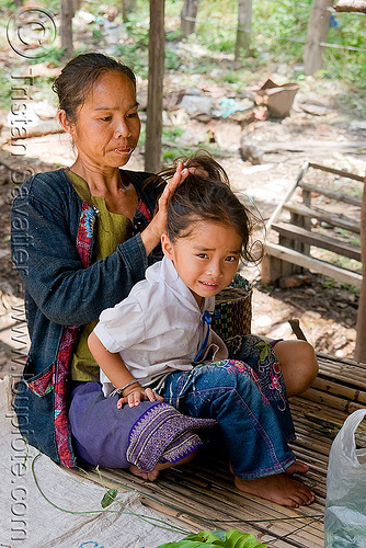 mother and child daughter (laos), asian woman, kid, little girl, mother and daughter
