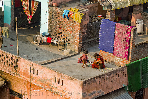 mother and children on house terrace (india), brick house, building, children, kids, mother, terrace, woman