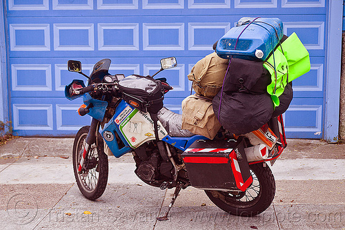 motorbike loaded with luggage - burning man 2012, burning man, dual-sport, duffle bags, jerrycan, kawasaki, klr 650, luggage, motorcycle touring, pannier cases, panniers, rack, tank bag