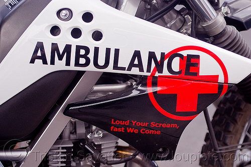 motorcycle ambulance, ems, java, jogja, jogjakarta, motorbike ambulance, motorcycle ambulance, paramedics, red cross, sign, yogyakarta
