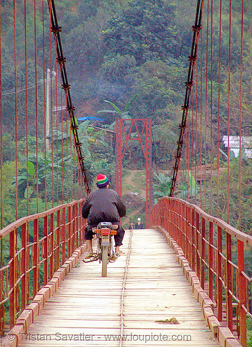 motorcycle on suspension bridge, infrastructure, motorbike, motorcycle, red, rider, riding, suspension bridge