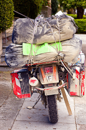motorcycle with luggage - KLR 650, dirty, dual-sport, duffle bags, klr 650, luggage rack, luggages, motorbike touring, motorcycle touring, pannier bags, pannier cases, panniers, playa dust, rear