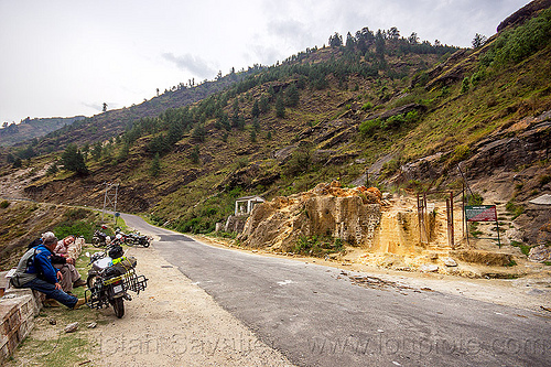 motorcyclists at the tapovan hot springs (india), dhauliganga valley, motorbike touring, motorbikes, motorcycle touring, motorcycles, mountains, road, royal enfield bullet, sulfurous hot springs, tapovan hot springs