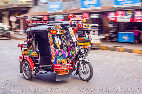 motorized tricycle - bontoc (philippines), bontoc, motorbike, motorcycle, motorized tricycle, philippines, public transportation, sidecar, street