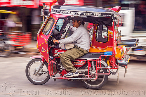 motorized tricycle (philippines), bontoc, colorful, driver, man, motorcycle, motorized tricycle, philippines, sidecar, sitting
