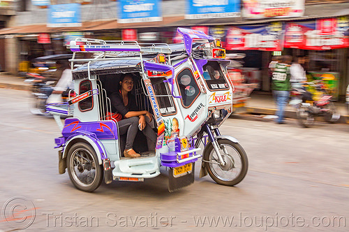 motorized tricycle (philippines), bontoc, colorful, motorcycle, motorized tricycle, passenger, philippines, sidecar, sitting, woman