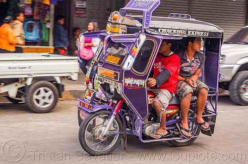 motorized tricycle (philippines), bontoc, colorful, driver, men, motorcycle, motorized tricycle, passenger, philippines, sidecar, sitting