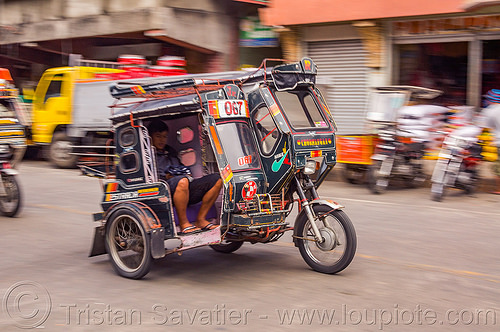 motorized tricycle (philippines), bontoc, colorful, man, motorcycle, motorized tricycle, passenger, philippines, sidecar, sitting