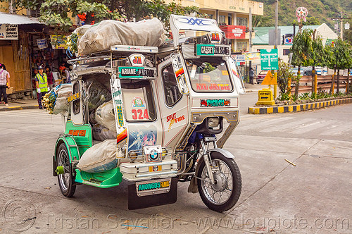 motorized tricycle - bontoc (philippines), bags, bontoc, freight, motorbike, motorcycle, motorized tricycle, philippines, public transportation, sacks, sidecar, street