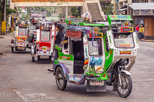 motorized tricycles (philippines), bontoc, colorful, motorcycles, motorized tricycle, philippines, sidecar