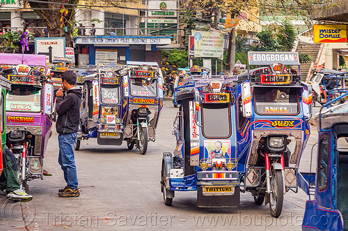 motorized tricycles (philippines), bontoc, colorful, man, motorcycles, motorized tricycle, pedestrian, philippines, sidecar, standing