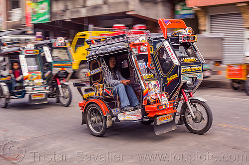 motorized tricycles - bontoc (philippines), bontoc, man, motorbikes, motorcycles, motorized tricycles, passenger, philippines, public transportation, sidecar, sitting, street