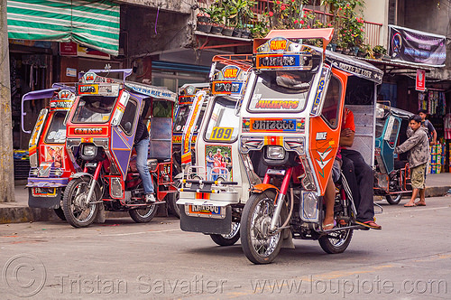motorized tricycles - bontoc (philippines), bontoc, driver, motorbikes, motorcycles, motorized tricycles, passenger, philippines, public transportation, sidecar, street