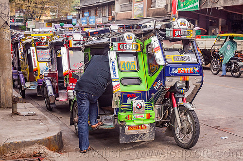 motorized tricycles (philippines), bontoc, colorful, man, motorcycles, motorized tricycle, passenger, philippines, sidecar, standing