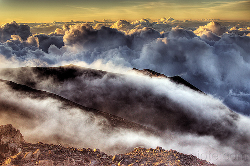 mount semeru volcano summit at sunrise - smoke and clouds, clouds, gunung semeru, hiking, indonesia, mount semeru, mountains, semeru volcano, smoke, summit, trekking