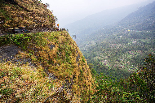 mountain road on cliff - sikkim (india), cliff, excavator, mountains, road, sikkim