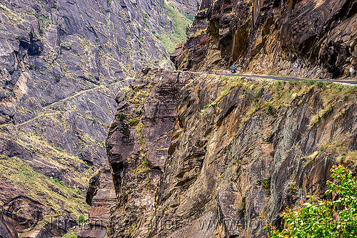 mountain road on top of vertical cliff (india), cliff, dhauliganga valley, motorbike touring, motorcycle touring, mountains, road, rock wall, stone