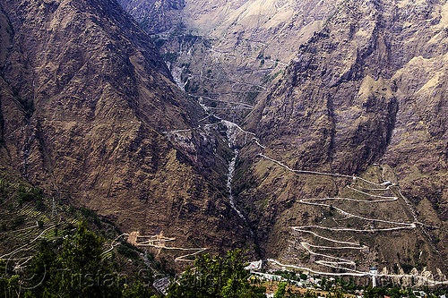mountain roads with switchbacks (india), india, mountain road, mountains, switchbacks