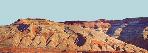 mountainous desert landscape with erosion geomorphological features, desert, erosion, mountain, panorama, stitched, utah