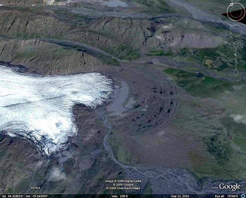 mouth of the flàajökull glacier (iceland), flaajokull, flàajökull, glacier mouth, google earth, ice, iceland, mountains, satellite photo