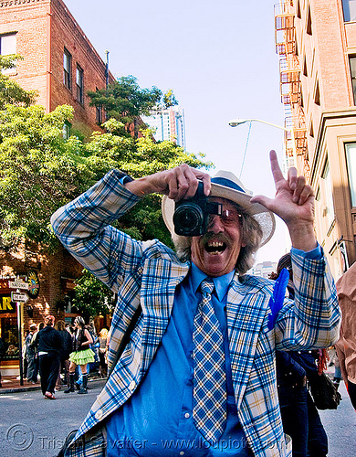 mr privette - blue suit (san francisco), blue costume, blue suit, camera, hat, how weird festival, jacket, man, photographer, privette, say cheese, tie