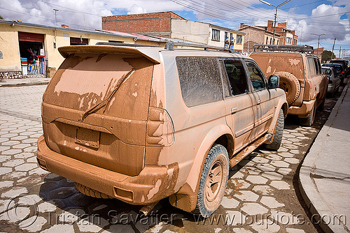 muddy 4x4 SUVs returning from an expedition - uyuni (bolivia), 4wd, 4x4, all-terrain, cars, dirty, expedition, muddy, street, suv, trucks, uyuni