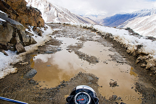 muddy road - khardungla pass - ladakh (india), india, khardung la pass, ladakh, motorcycle touring, mountain pass, mountains, mud, road, royal enfield bullet, snow