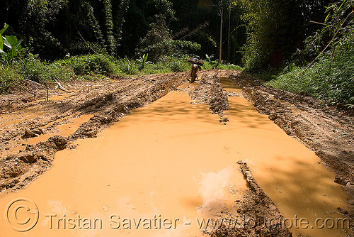 muddy road - motorcycle (laos), 250cc, dirt road, dual-sport, honda motorcycle, honda xr 250, laos, motorcycle touring, mud ruts, muddy water, puddle, unpaved