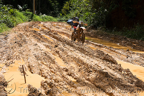 muddy road - ruts - motorbike, 250cc, dirt road, dual-sport, honda motorcycle, honda xr 250, laos, motorcycle touring, mud ruts, muddy, unpaved