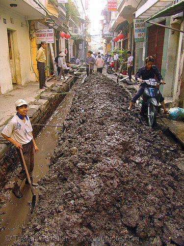 muddy street - vietnam, groundwork, hanoi, men, motorbike, mud, muddy, road construction, roadworks, street, underbone motorcycle