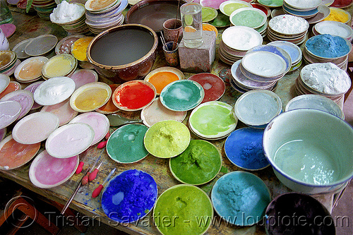 multicolor pigments in plates - ceramic enamel dyes (china), ceramic, china, colorful, coloring, dyes, enamel, pigments, plates