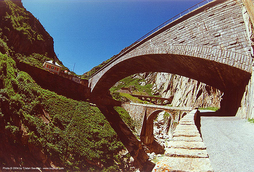 multiple bridges in narrow valley (switzerland), arches, bridges, mountain, road, switzerland, vaults