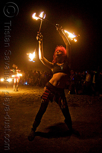 mumu mariane charline spinning fire staffs - burning man 2008, burning man, double staff, fire staffs, fire staves, flames, mumu mariane charline, night, woman