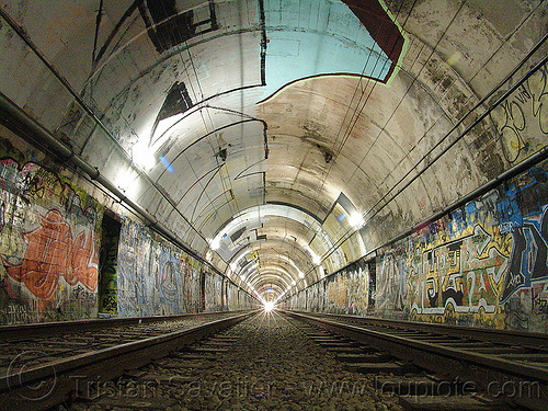 muni train tunnel with graffiti (san francisco), danger, dangerous, duboce tunnel, graffiti, light rail, metro, muni subway, no trespassing, rail tracks, railroad tracks, railway tracks, san francisco municipal railway, street art, sunset tunnel, train tracks, urbex, vanishing point