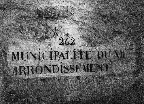municipalité du XII-eme arrondissement - catacombes de paris - catacombs of paris (off-limit area), 262, cave, clandestines, illegal, paris, plate, sign, underground quarry