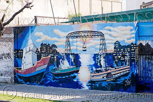 mural - puente transbordador (la boca, buenos aires), bridge, buenos aires, graffiti, la boca, mural, painting, puente transbordador, riachuelo, río la matanza, río matanza, street art
