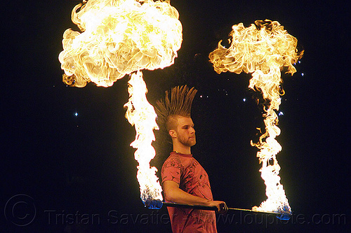 mushroom flames - fire staff performer, fire dancer, fire dancing, fire performer, fire spinning, fire staff, man, mohawk hair, mushroom flames, night, spinning fire