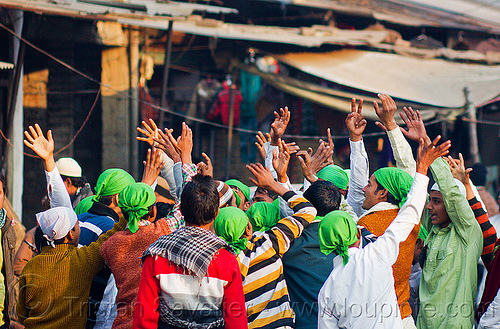muslim crowd waving hands - eid-milad-un-nabi muslim festival (india), :head wear, crowd, eid-e-milad-un-nabi, eid-e-milād-un-nabī, eid-milad-un-nabi, green, hands up, head covers, islam, mawlid, men, milad un-nabi, milad-an-nabi, milād an-nabī, milād un-nabī, mohammed's birthday, muhammad's birthday, muslim festival, muslim parade, muslims, nabi day, prophet's birthday, religion, street, عید میلاد النبی, ईद मिलाद नबी