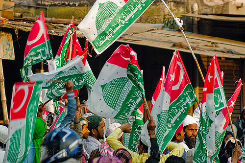 muslim flags with islamic symbols - eid-milad-un-nabi muslim festival (india), crowd, eid-e-milad-un-nabi, eid-e-milād-un-nabī, eid-milad-un-nabi, flags, islam, mawlid, men, milad un-nabi, milad-an-nabi, milād an-nabī, milād un-nabī, mohammed's birthday, muhammad's birthday, muslim festival, muslim parade, muslims, nabi day, prophet's birthday, religion, street, عید میلاد النبی, ईद मिलाद नबी