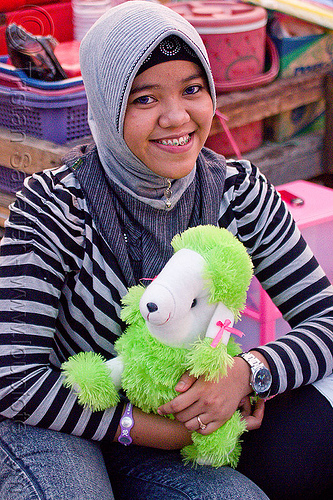 muslim girl with stuffed animal, eid ul-fitr, fatahillah square, girl, jakarta, java, muslim fashion, stuffed animal, taman fatahillah, woman