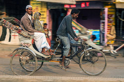 muslim man and girl on cycle rickshaw (india), cycle rickshaw, india, men, moving, passengers, riding, varanasi
