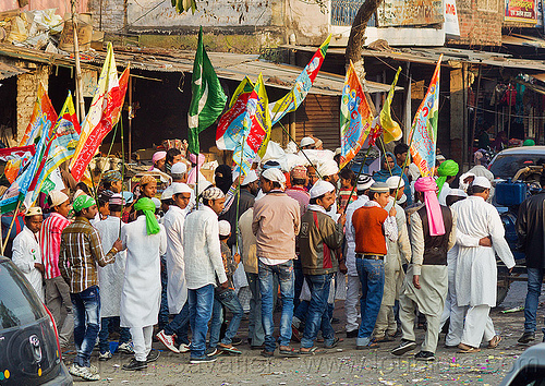 muslim men holding flags at street parade - eid-milad-un-nabi muslim festival (india), crowd, eid e milad un nabi, eid e milād un nabī, india, islam, mawlid, men, muhammad's birthday, muslim festival, muslim parade, muslims, nabi day, prophet's birthday, عید میلاد النبی, ईद मिलाद नबी
