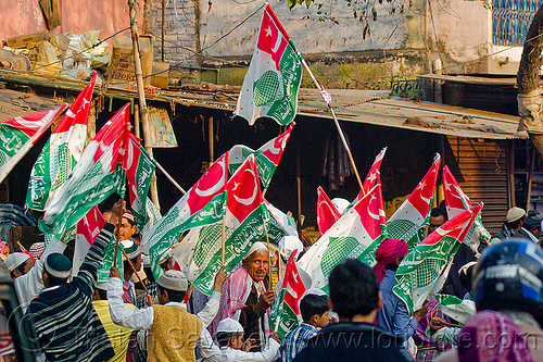 muslim men with flags - eid-milad-un-nabi muslim festival (india), eid-e-milad-un-nabi, eid-e-milād-un-nabī, islam, milad-an-nabi, milād an-nabī, milād un-nabī, mohammed's birthday, muslim parade, muslims, prophet's birthday, religion, عید میلاد النبی, ईद मिलाद नबी