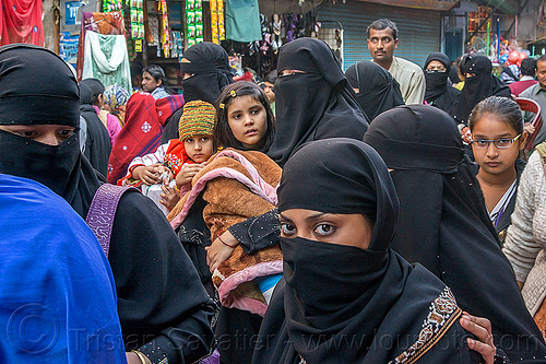 muslim women wearing niqab (india), children, crowd, delhi, girls, islam, kids, market, men, people, street